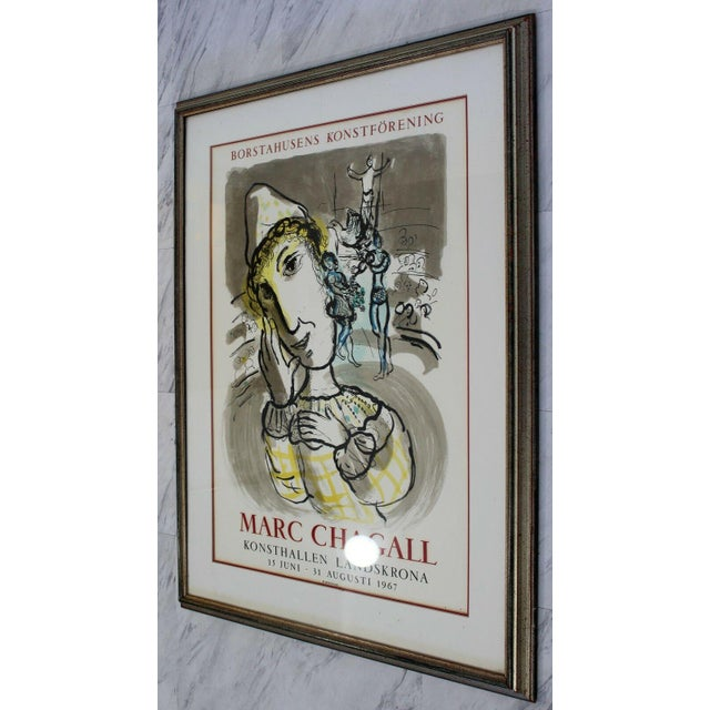 """For your consideration is a fun, framed lithograph, entitled """"Circus with the Yellow Clown"""" by Marc Chagall, circa 1976...."""