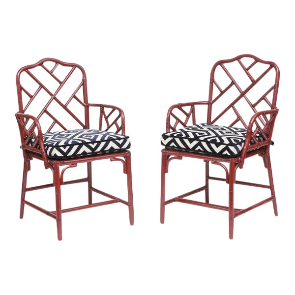 Vintage Bamboo Chinese Chippendale Chairs - A Pair - Image 1 of 9