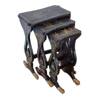 20th Century Asian Handprinted Stacking Tables - Set of 3 For Sale