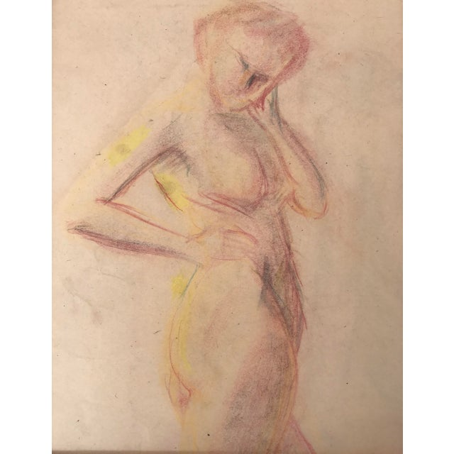 Impressionism 1950s Vintage Pastel Drawing Study of a Nude For Sale - Image 3 of 5