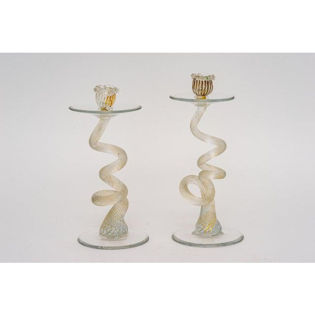 Glass Vintage Yellow Murano Candle Holders - a Pair For Sale - Image 7 of 13