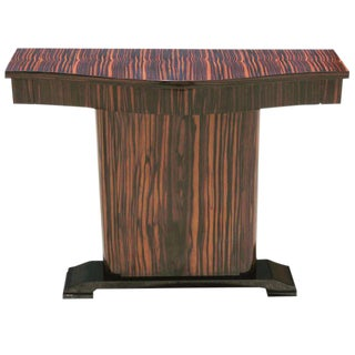 Small French Art Deco Macassar Ebony Console Table Circa 1940s.