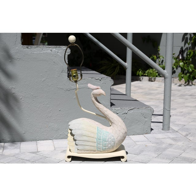 White Vintage 1980s Plaster Bird Table Lamp For Sale - Image 8 of 10