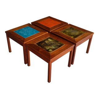 John Keal Walnut with Enamel Copper Top Side Tables - Set of 4