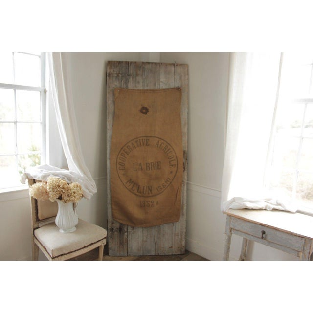 This textile is a charming Vintage hessian/jute/ burlap from France for agricultural use dating c1954 ~ This sack is a...