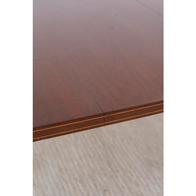 Brown American Hepplewhite Style Demilune Console Tables - a Pair For Sale - Image 8 of 13
