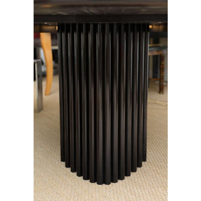 Wood Signed Rothlisberger Ebonized Oval Sculptural And Fluted Dining Table For Sale - Image 7 of 11