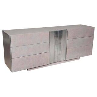 1970s Grey-Washed Oak Dresser With Textured Aluminum Door For Sale