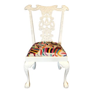 Chippendale Upcycled White Wood Side Chair With Otomi Seat For Sale