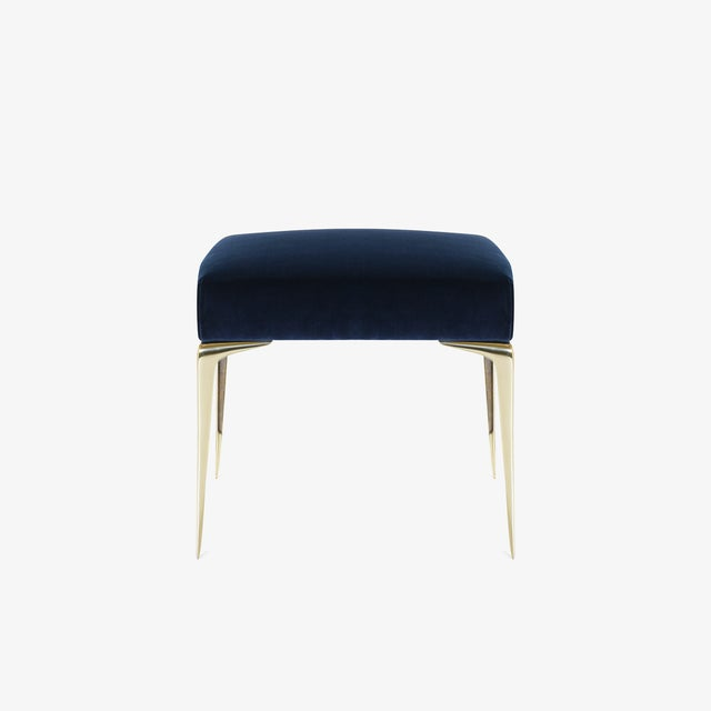 Montage Colette Petite Brass Ottomans in Navy Velvet by Montage, Pair For Sale - Image 4 of 8