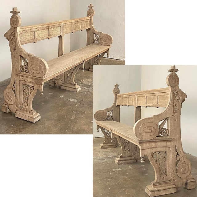19th Century Gothic Revival Church Pew ~ Bench was hand-crafted by master artisans from dense, old-growth indigenous oak,...