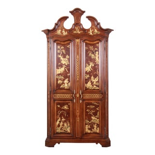 Karges Burl and Cherry Wood Hollywood Regency Chinoiserie Armoire Dresser For Sale