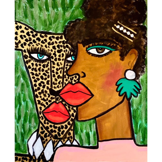 Expressionism Lady and the Cheetah Original Painting For Sale - Image 3 of 3