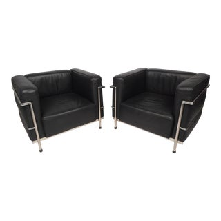 Pair of Corbusier Style Lounge Chairs For Sale