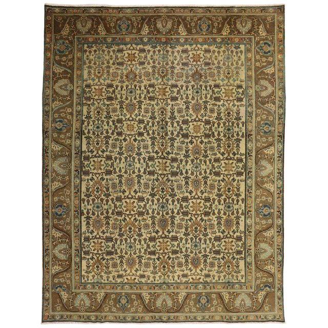 "Vintage Persian Tabriz Art Deco Style Rug - 9'8"" X 12'7"" For Sale"