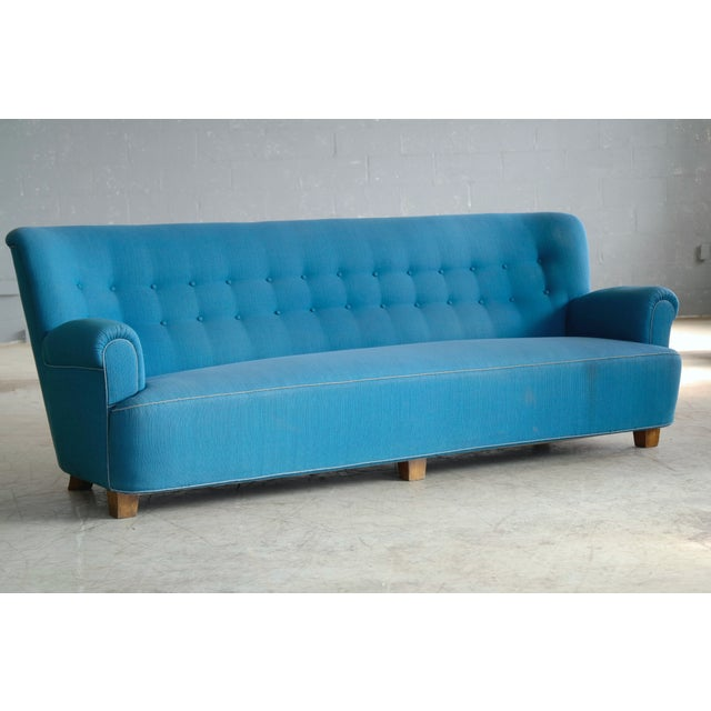 Danish Midcentury Boesen Style Large Four-Seat Danish Sofa, 1940s For Sale In New York - Image 6 of 11