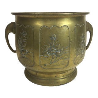 1900s Antique Asian Brass a Hot Coal Pot For Sale
