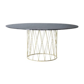 Equipal Blackened Glass and Brass Table by Atra For Sale