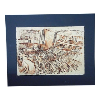 Original Vintage Mid 20th Century Ink/Watercolor Drawing-D. Fredenthal-Listed American Artist For Sale