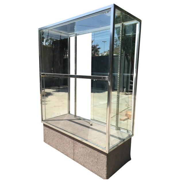 Chrome & Glass Lit Display Cabinet - Image 1 of 6
