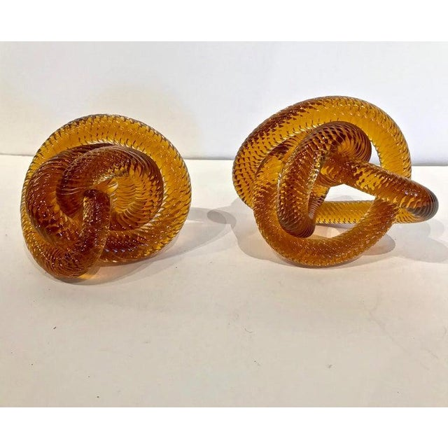 Glass Pair of Mid-20th C. Glass Knots Attributed to Zanetti For Sale - Image 7 of 8