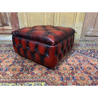 Vintage Mid-Century English Oxblood Leather Chesterfield Footstool Ottoman Preview