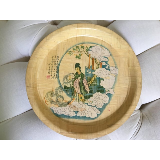1960s Vintage Hand Painted Bamboo Drink Tray For Sale - Image 9 of 10
