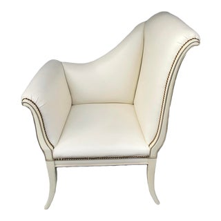 Karges White Leather Parler Deux Chair For Sale