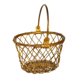 Vintage Brass Basket For Sale
