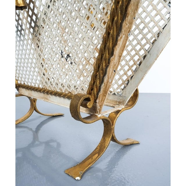 White Wrought Iron Magazine Rack Gold White, Germany, Circa 1955 For Sale - Image 8 of 9