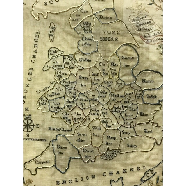 Map Of England 1800.Ca 1800 Antique Needlework Sampler Map Of England And Wales