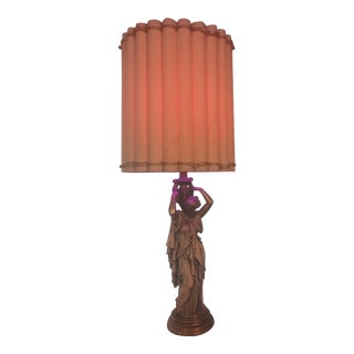 Antique Ceramic Pottery Roman Woman Table Lamp For Sale