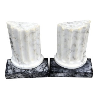 Italian Marble Bookends Rustic Greek Columns - a Pair