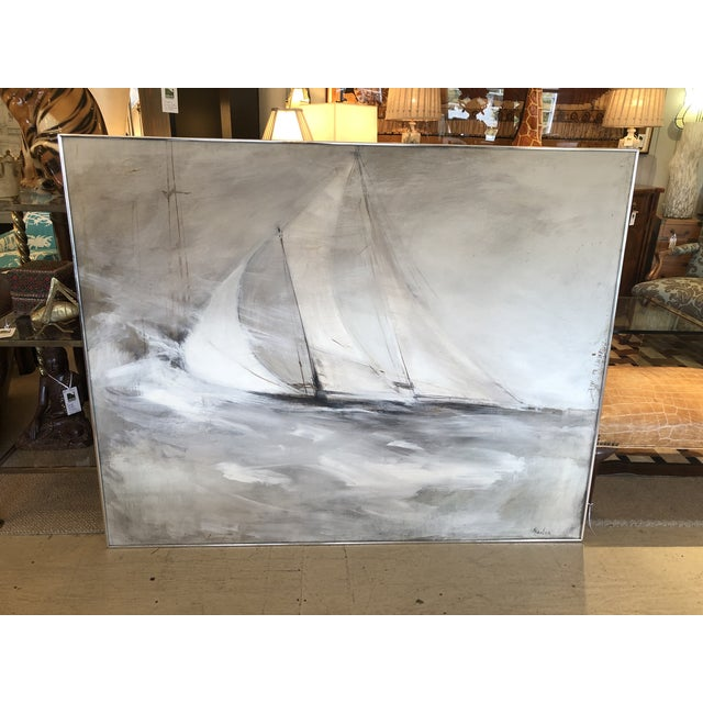 Paint Striking Sailboat Painting in Muted Greys and White For Sale - Image 7 of 7