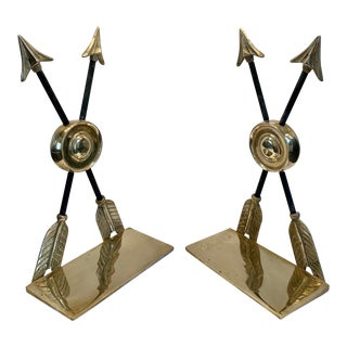 Vintage Brass Arrow Bookends - a Pair For Sale