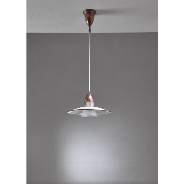 Lyfa Lyfa Metal, Copper and Glass Pendant, Denmark, 1930s For Sale - Image 4 of 5