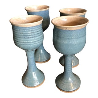 Art Pottery Turquoise Stoneware Goblets- Set of 4 For Sale