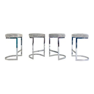 Milo Baughman Bar Stools in Brazilian Cowhide, Set of 4 For Sale