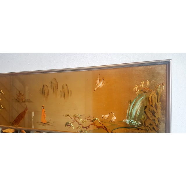 Large Labarge Églomisé Signed Chinoiserie Mirror - Image 6 of 6