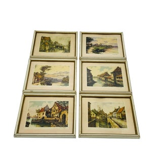 1970s European Waterscape Framed Prints - Set of 6 For Sale