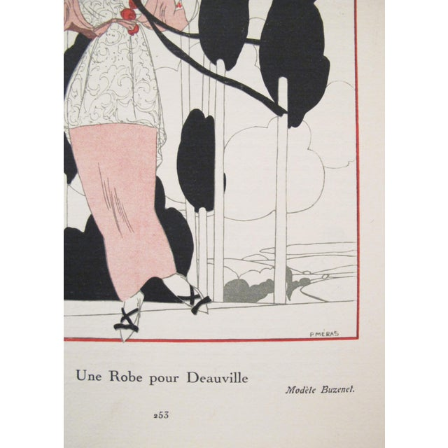 1913 Gazette du Bon Ton Fashion Plate, Robe pour Deauville For Sale - Image 4 of 6