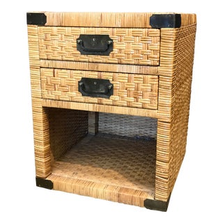 Campaign Style Wicker Nightstand For Sale