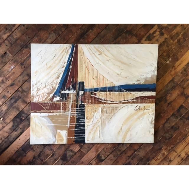 Vintage 1970's Bridge and Seagulls Painting - Image 2 of 4