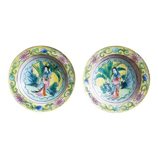 Pair of Canton Enamel Bowls For Sale