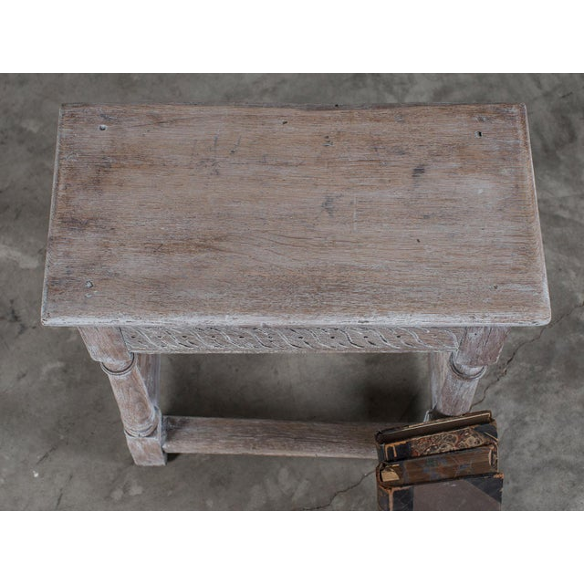 Oak Antique English Limed Oak Joint Stool circa 1890 For Sale - Image 7 of 11
