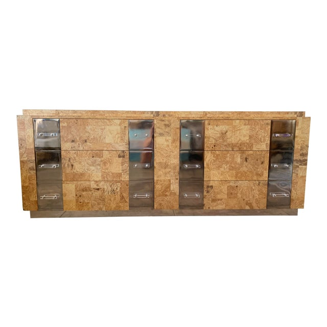 Birdseye Burlwood Lucite and Chrome Dresser For Sale