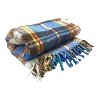 Mid-Century Modern Wool Plaid Blanket For Sale