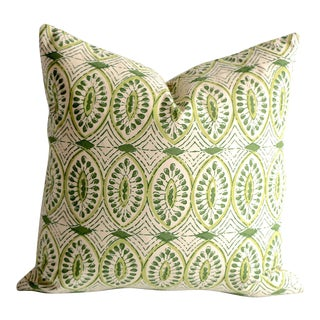 Olive Block Print Euro Sham 26x26 For Sale