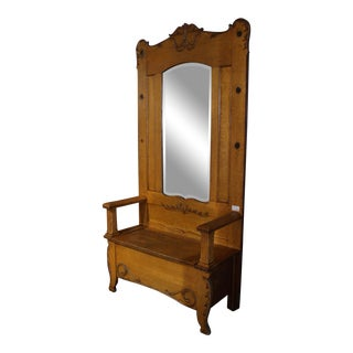 19th Century Traditional Hall Bench With Mirror and Storage For Sale