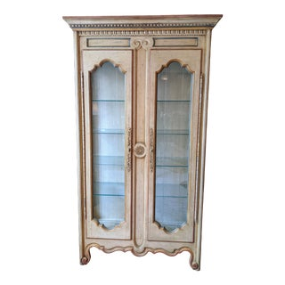 Late 20th Century Heritage French Country Lighted Display Cabinet For Sale